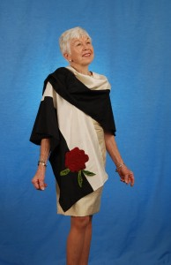 Red Quilted Silk Rose on Black and Cream Silk Cape Wrap by MaryGwyneth Fine Wearable Art