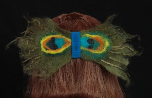 Peacock Felted Hair Fascinator by MaryGwyneth Fine Wearable Art Clothing