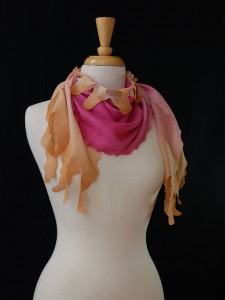 Roses Edge Scarf in Silk Wool Blend by MaryGwyneth Fine Wearable Art Accessories