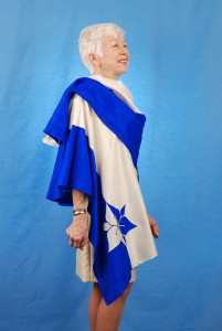 """Silk Trillium Wrap in Royal Blue, White"" by MaryGwyneth Fine Wearable ARt"