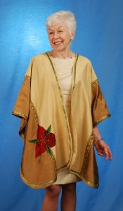 """Wrap Shawl in Silk Dupioni Cream, Gold, Red Trillium"" by MaryGwyneth Fine Wearable Art"