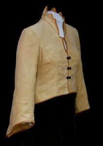 Tan Corduroy Tailored Jacket, Velveteen Piping by MaryGwyneth Fine Wearable Art